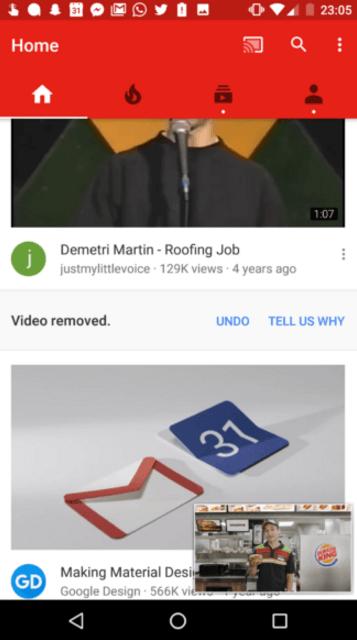 and replaces current picture in picture theme - Google тестирует изменения пользовательского интерфейса для YouTube Android