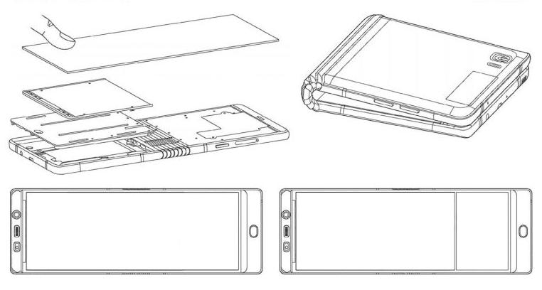 Images from Samsungs filing last year with WIPO for a patent on its foldable phone - CES 2018: Samsung на закрытой встрече показала партнёрам складной смартфон