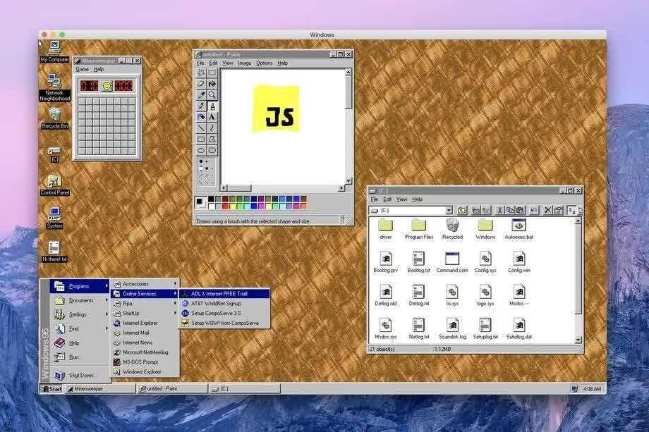 Программист сделал из Windows 95 приложение, которое можно установить на все популярные платформы