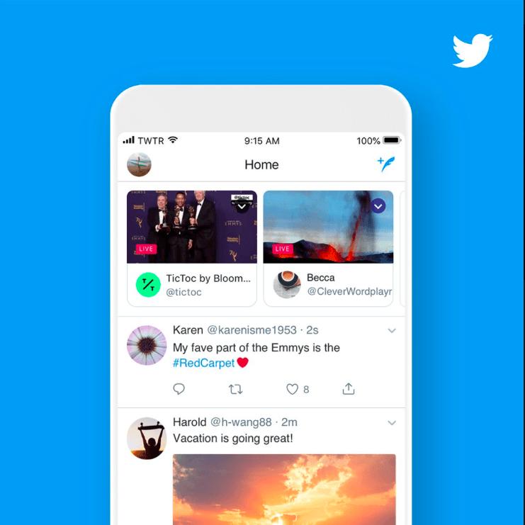 Twitter переместит прямые трансляции наверх ленты
