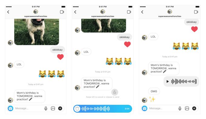 В Instagram появились голосовые сообщения