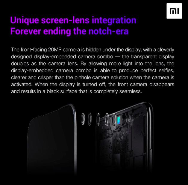 Xiaomi раскрыла подробности о подэкранной селфи-камере