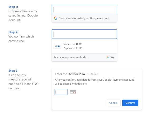 Chrome автоматически заполняет данные вашей кредитной карты без синхронизации браузеров
