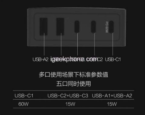 Xiaomi выпустила устройство для одновременной зарядки 5 гаджетов