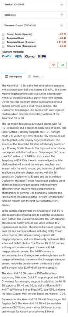 Рассекречены характеристики и цена смартфона Xiaomi Mi10
