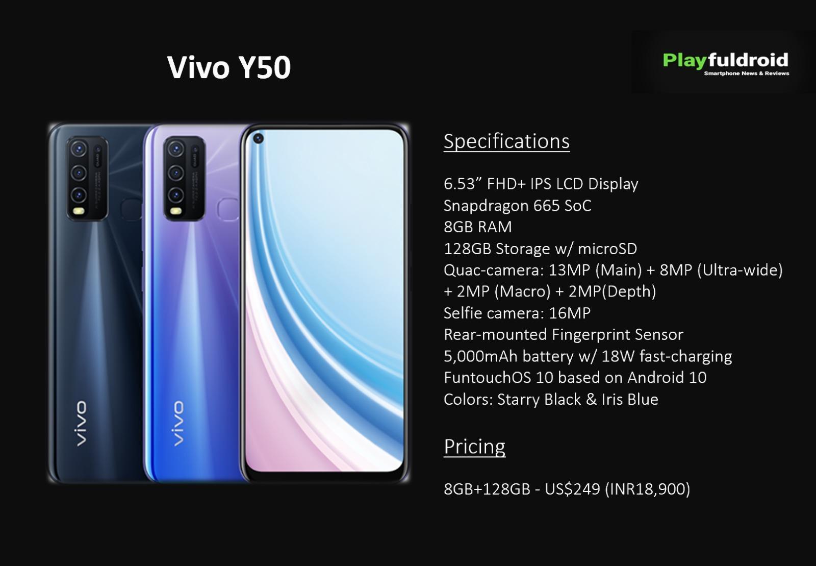 Vivo представила смартфон Vivo Y50