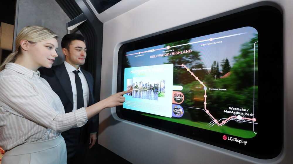 LG представит на CES 2021 прозрачные OLED-панели (lg transparent oled display subway train)