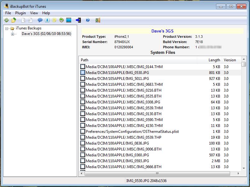 shii3 - Обзор iBackupBot