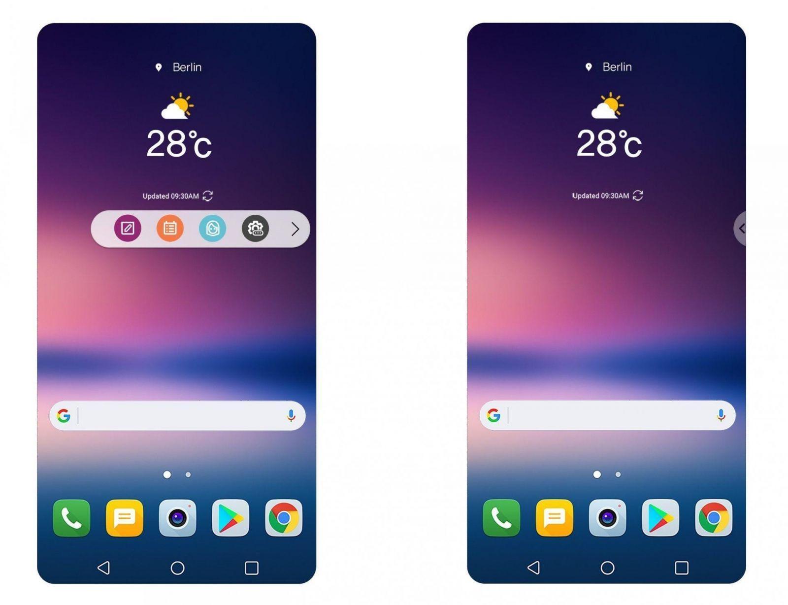 У смартфона LG V30 будет новый интерфейс (LGV30FloatingBar)
