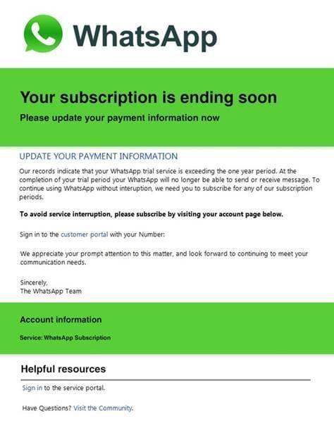 Мошенники предлагают продлить подписку на WhatsApp (image001)