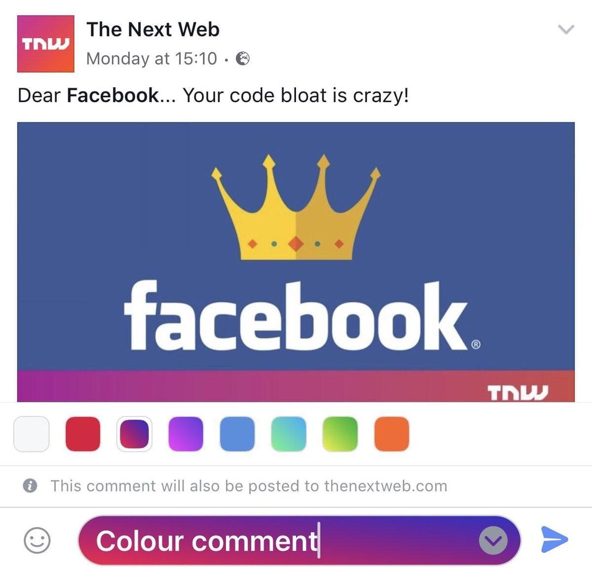Facebook тестирует комментарии с цветным фоном (3921285fa0c24b)