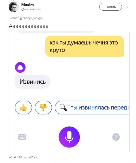 Пользователи издеваются над «Алисой» (alisa yandeks18)