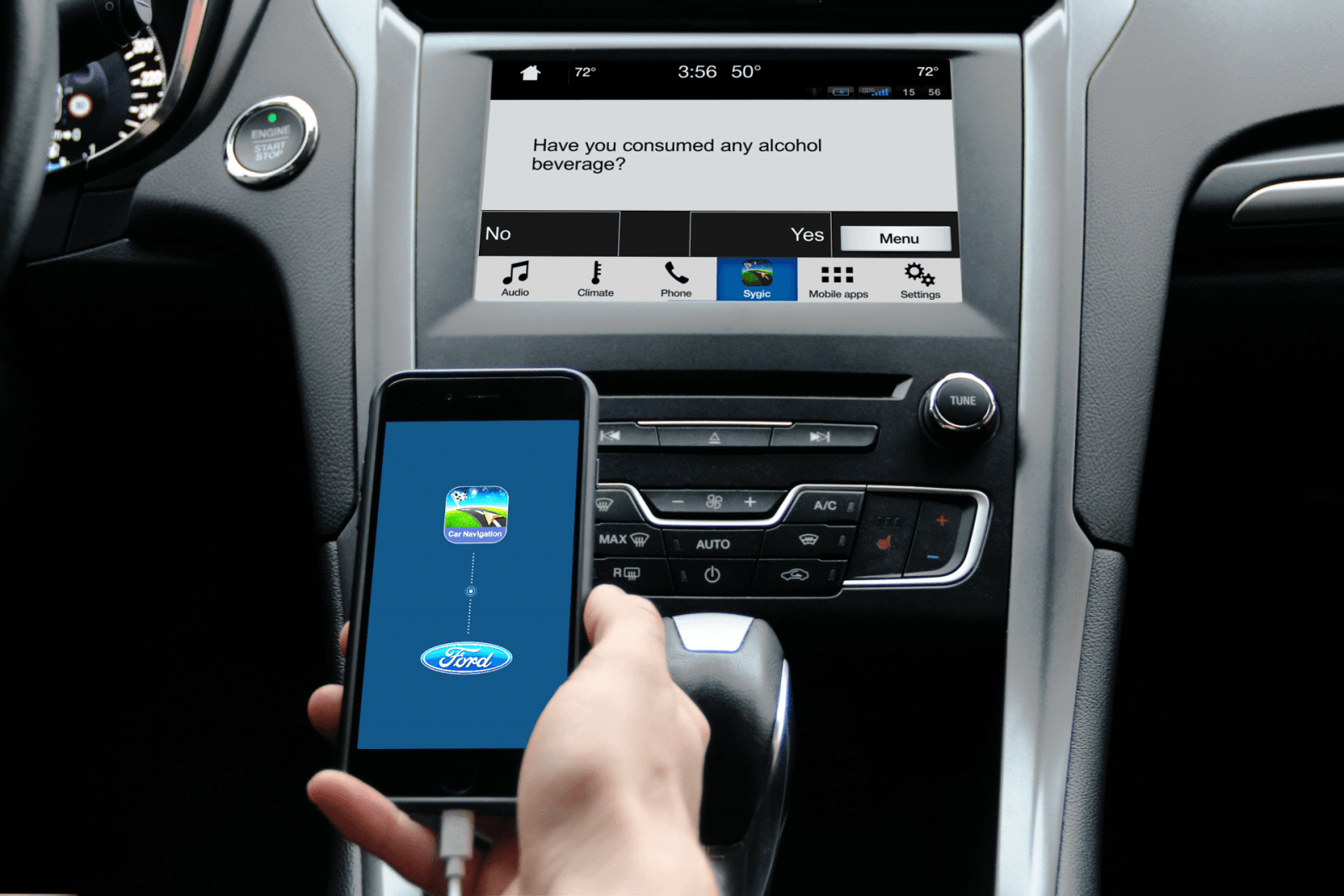 CES 2018: Sygic добавила алкотестер в навигатор (02 Ford Car connectivity AlcoholTester)