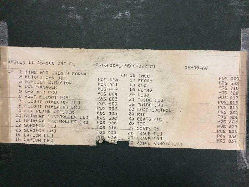 NASA впервые опубликовало тысячи аудиозаписей с Apollo 11 (Historical Recorder 1 Tracksheet 796x597 1)