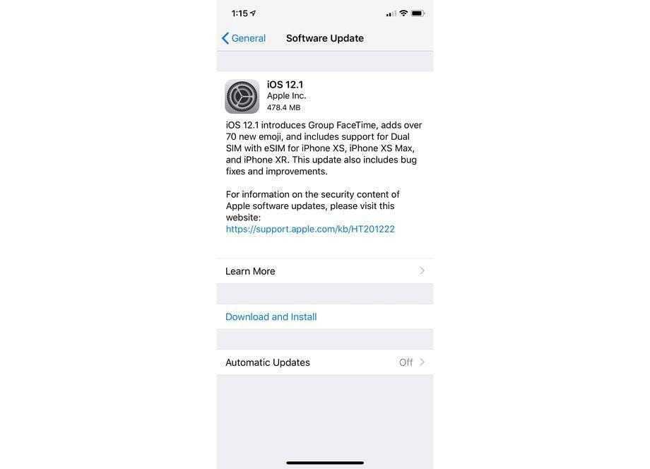 Стало доступно обновление для iOS 12 (ios12.1)