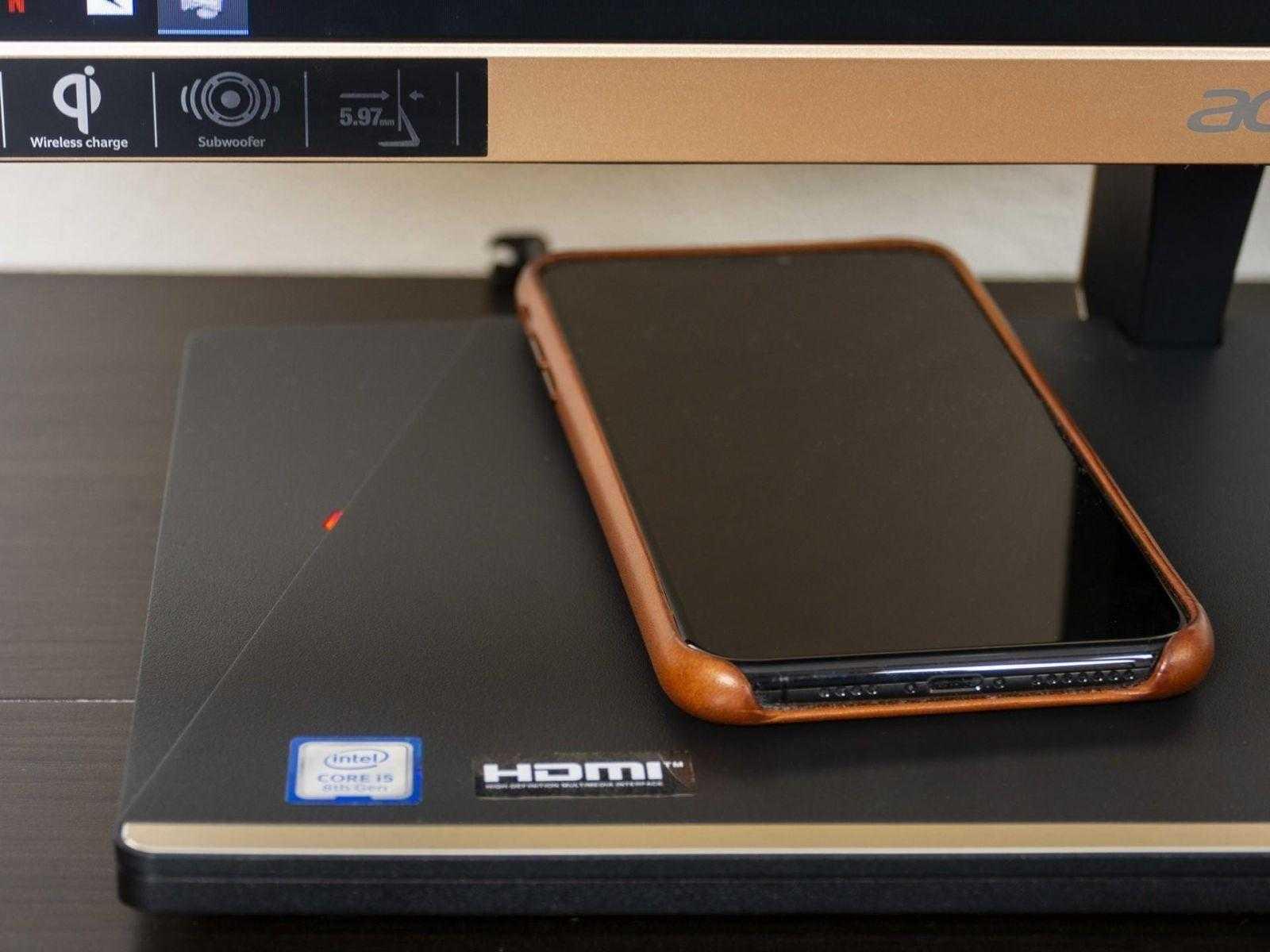 Беспроводная зарядка в моноблоке Acer Aspire S24-880