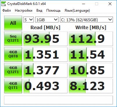Результаты тестирования Acer Aspire S24-880 в бенчмарке CrystaDiskMark