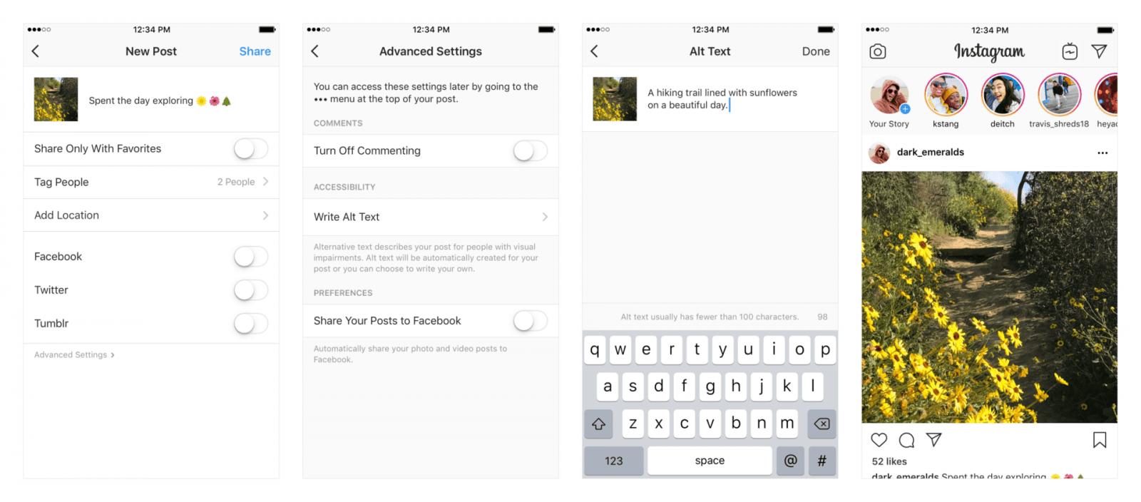 Instagram расширяет функции для пользователей с нарушениями зрения (4up en)