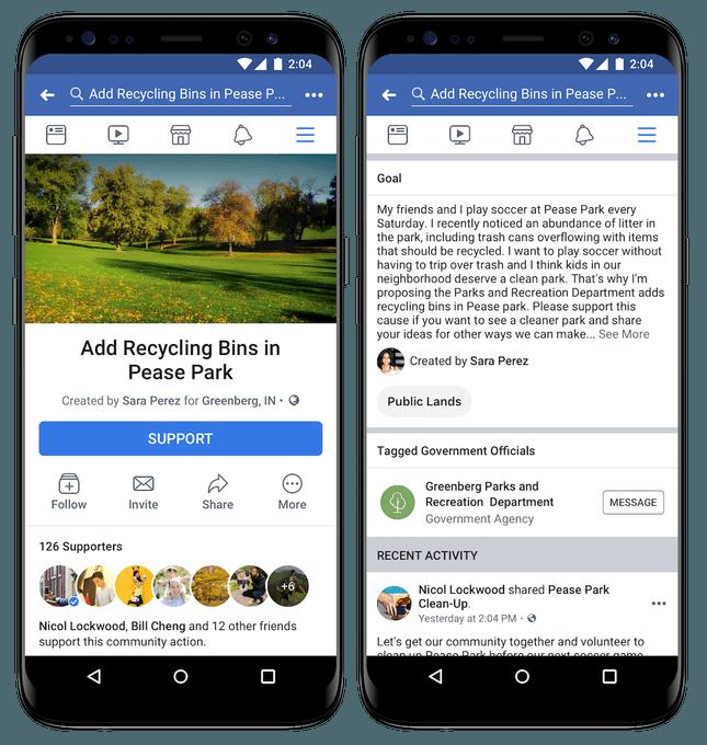 В Facebook теперь есть петиции (Facebook Community Actions Screenshot)