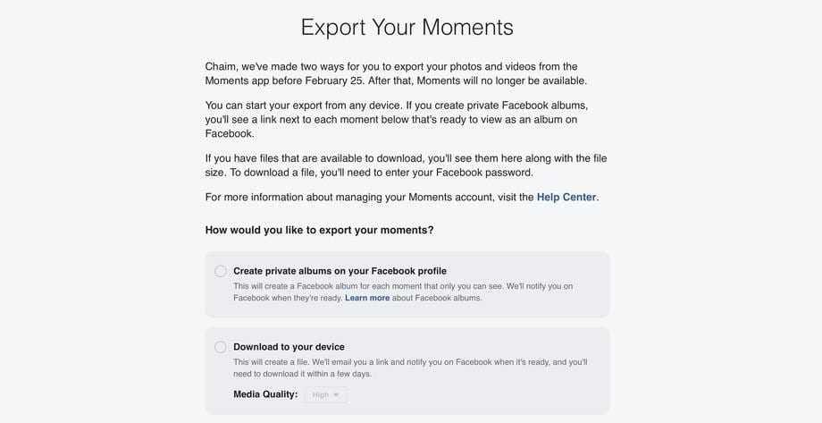 Facebook закрывает сервис для фотографий Moments (Screen Shot 2019 01 24 at 1.13.25 PM.png)
