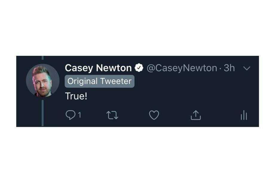 Twitter будет помечать авторов оригинальных твитов в тредах (casey newton original tweeter.png)