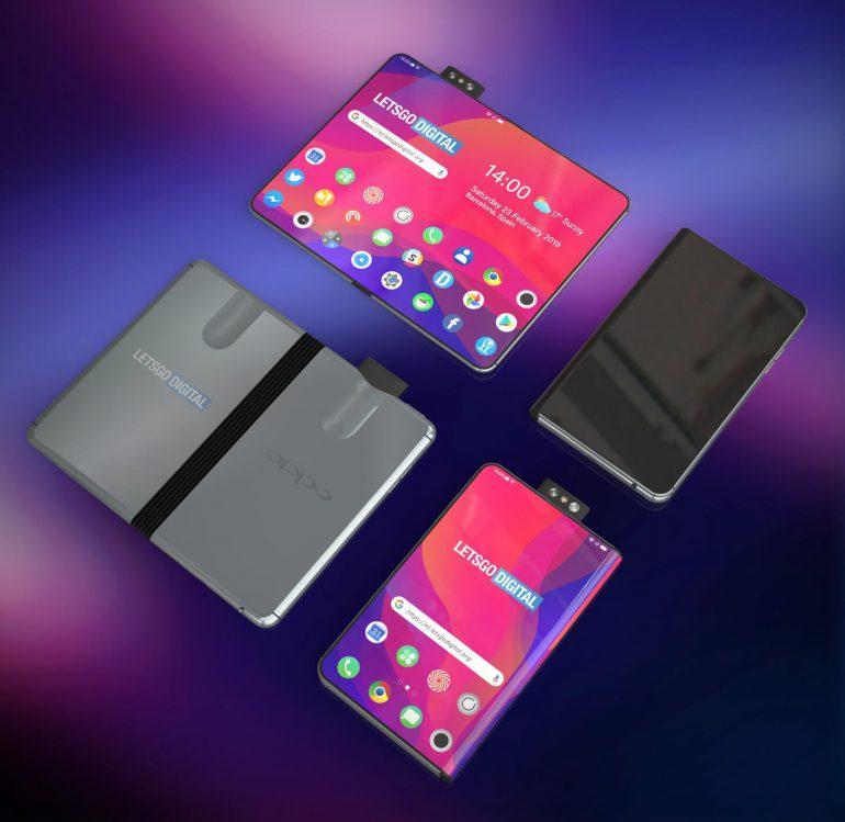 MWC 2019. Складной смартфон Oppo появился на рендерах (oppo smartphone met vouwbaar scherm)