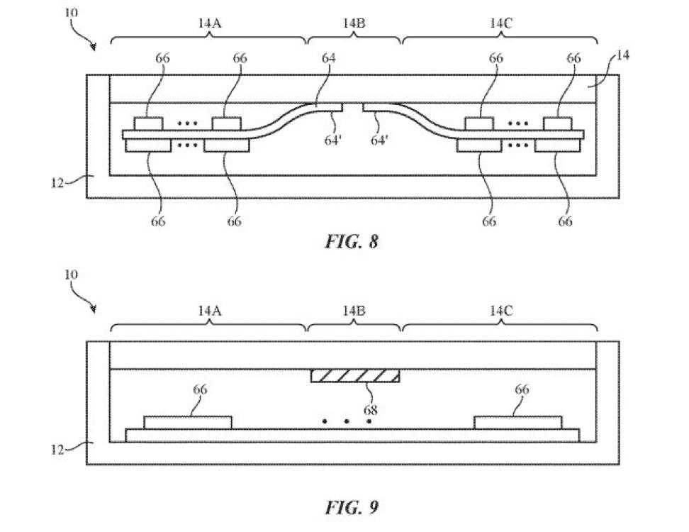 Патент Apple на складной iPhone показывает, как избежать повреждения экрана (patent1)