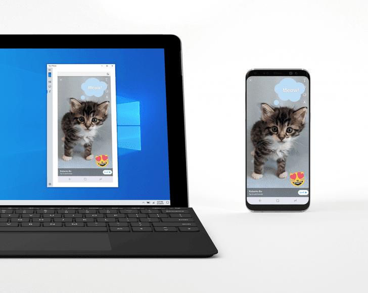 Microsoft тестирует функцию отображения экрана Android на Windows 10 (ap resize)