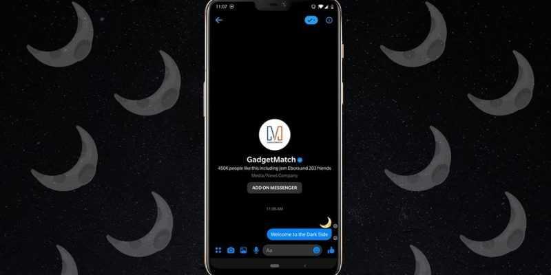 Как включить секретный темный режим Facebook Messenger на Android (gadgetmatch 20190302 dark mode)