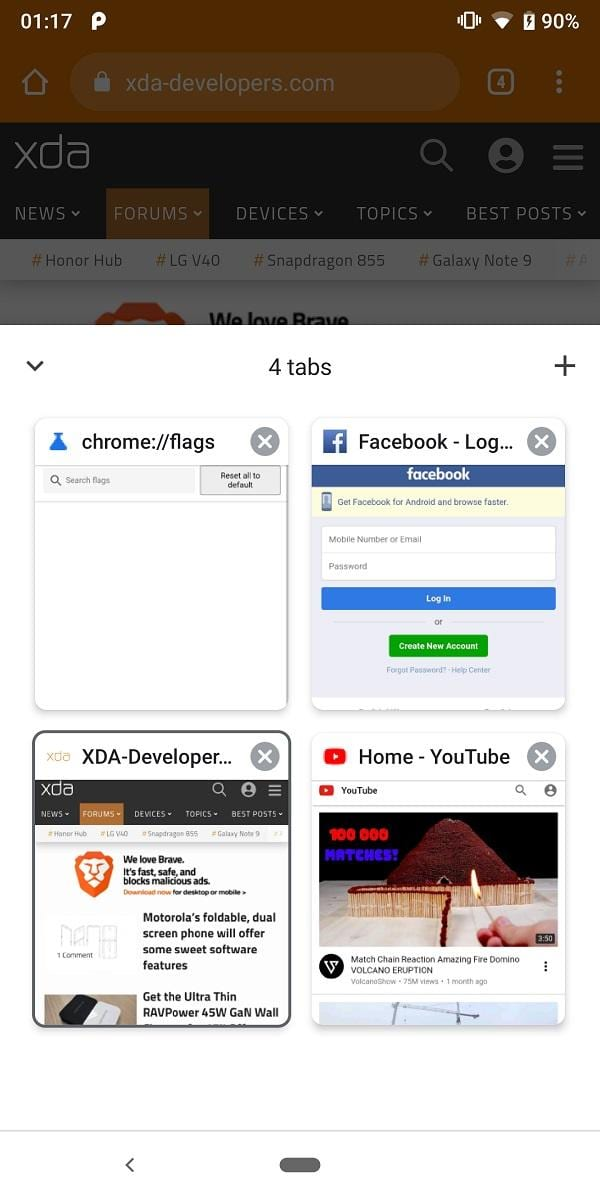 Google Chrome для Android тестирует нижнюю панель вкладок (google chrome bottom toolbar tabs 2)