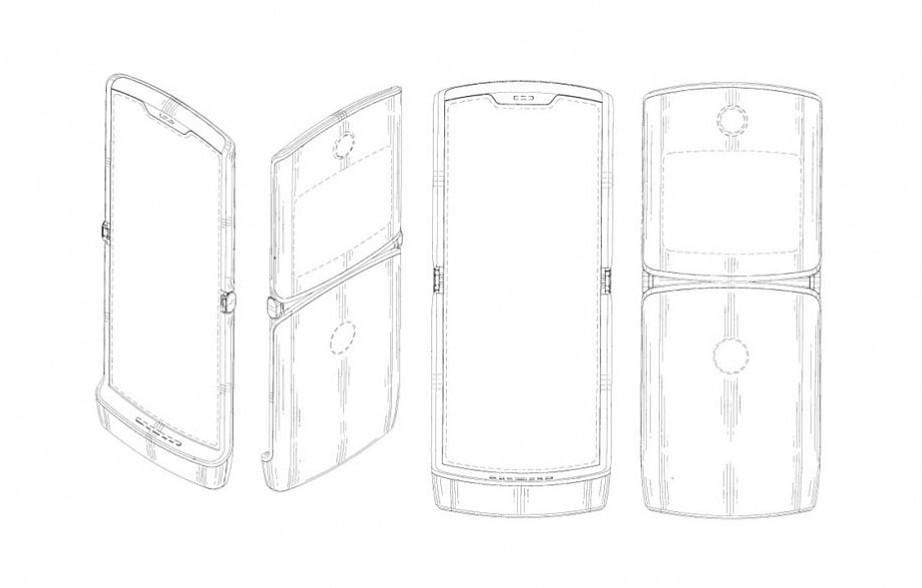 Слухи: складной смартфон Motorola Razr не получит флагманскую начинку (motorola razr 2019 foldable patent image)