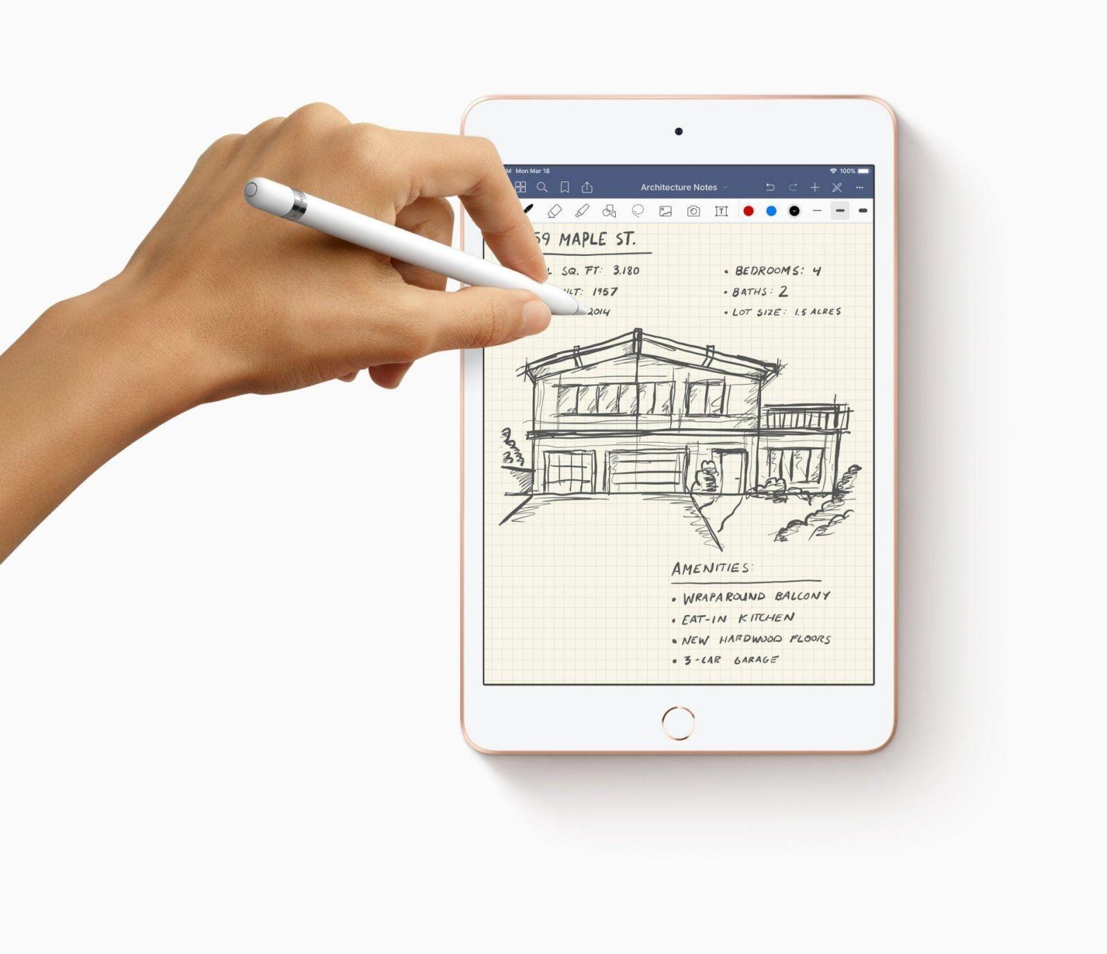 Apple неожиданно представила новый iPad Air и iPad mini c процессором A12 (new ipad mini apple pencil with hands drawing 03162019)