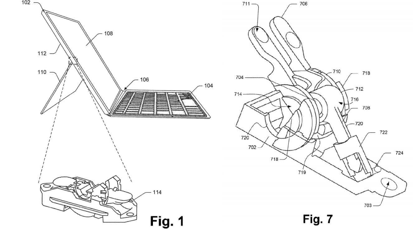 Патентная заявка Microsoft демонстрирует улучшенную подставку Surface Pro (surface hinge patent)