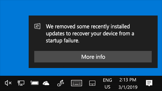 Windows 10 сможет автоматически удалять обновления с серьезными ошибками (windows update uninstalled)