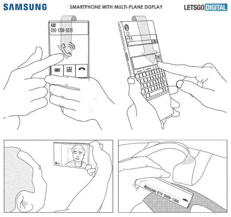 Патент Samsung демонстрирует смартфон с тремя экранами (samsung toestel)