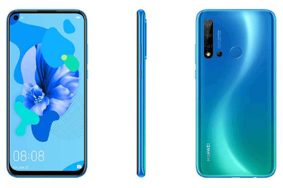 Следующий бюджетный смартфон Huawei, P20 Lite (2019), получит 4 камеры (huawei p20 lite 2019 blue)