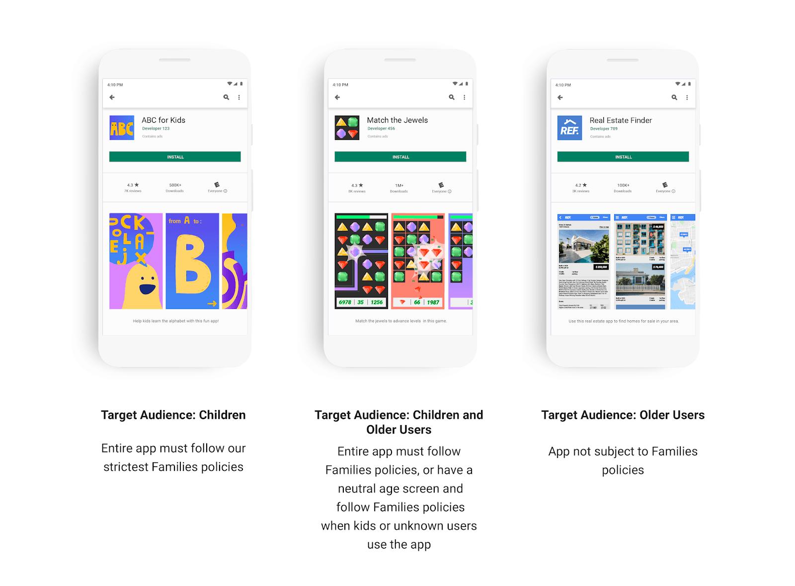 Google ввела новую политику Play Store относительно приложений для детей (phones grouped v2)