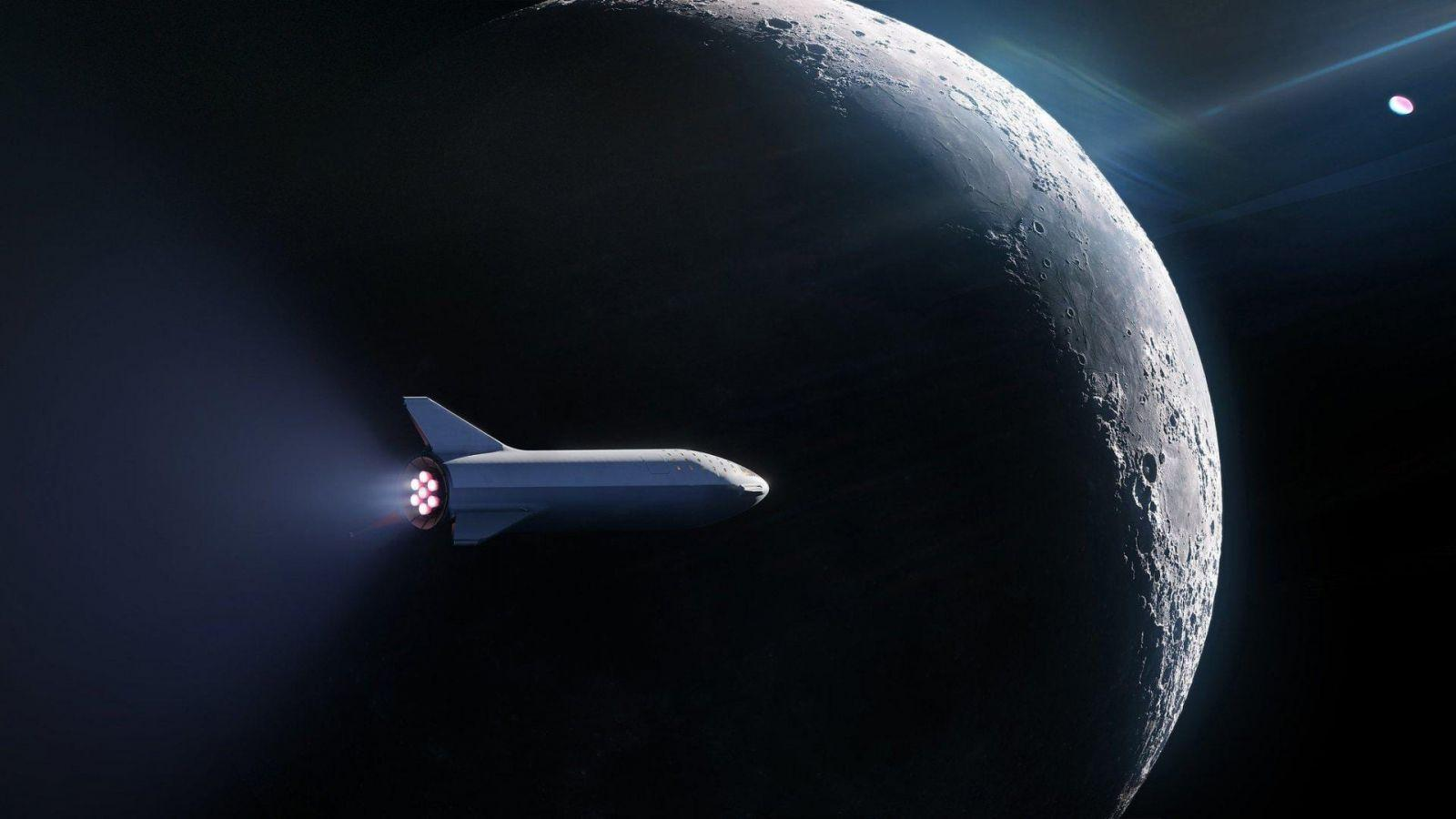 SpaceX отправит корабль на Луну к 2021 году (spacex starshup with moon in background is)