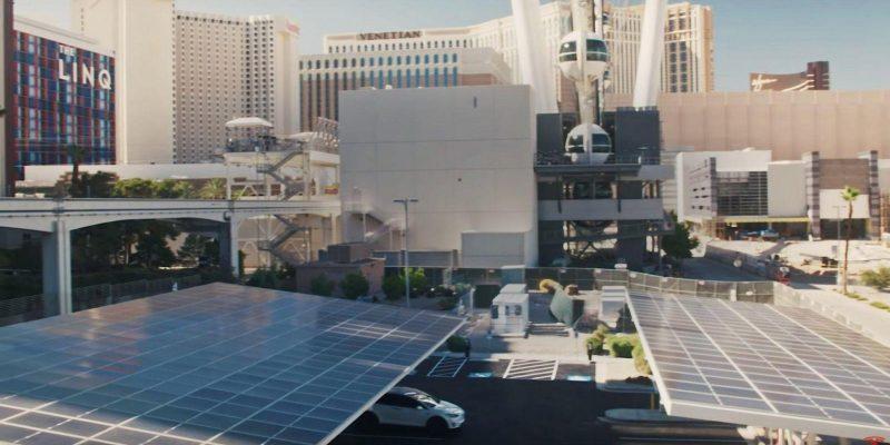 Tesla открывает станцию Vegas V3 Supercharger с питанием от солнечных батарей (tesla v3 supercharger station las vegas strip)