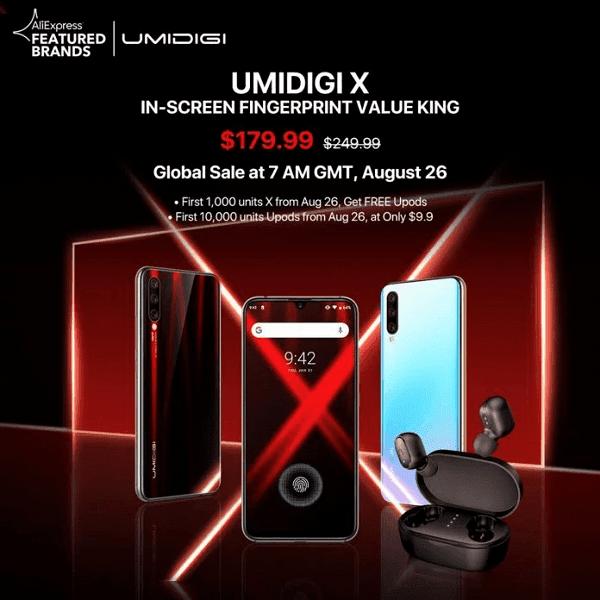 Umidigi объявила стоимость смартфона Umidigi X (dt32g05z)