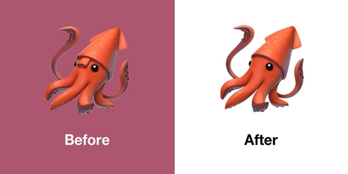 Вышла iOS 13.1 с исправленными смайлами (emojipedia apple ios 13.1 emoji changelog comparison squid)