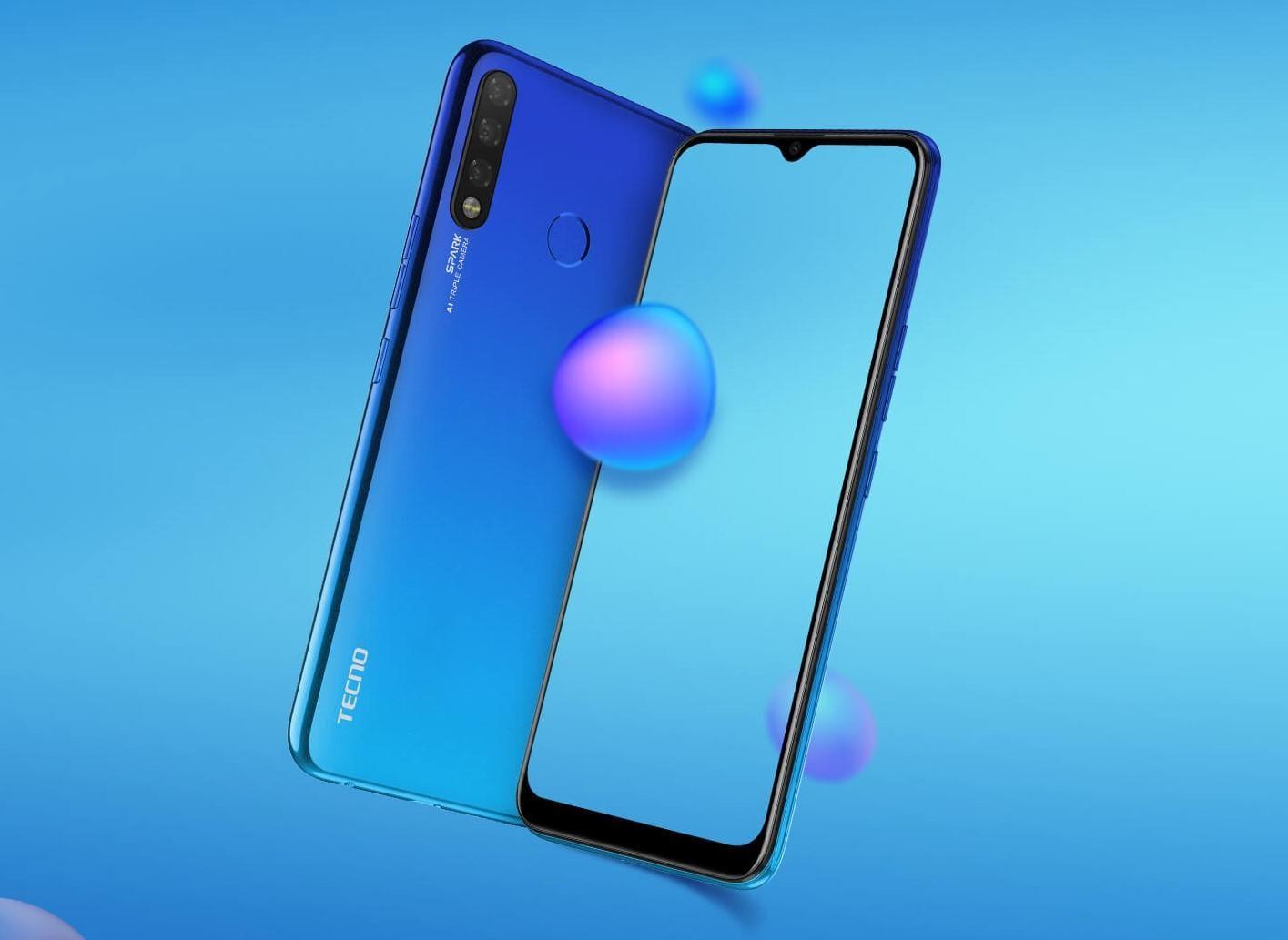 Компания Tecno выпустит в России два бюджетных смартфона с тонкими рамками и вырезом-каплей (tecno spark 4 screen)