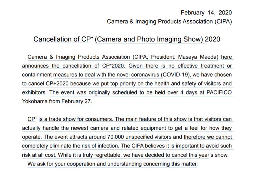 Выставка фототехники CP+ 2020 отменена из-за коронавируса (bezymjannyj 2)