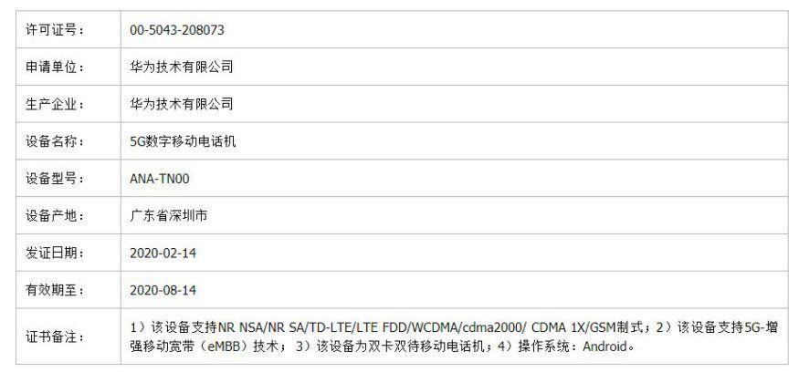 Серия Huawei P40 TENAA