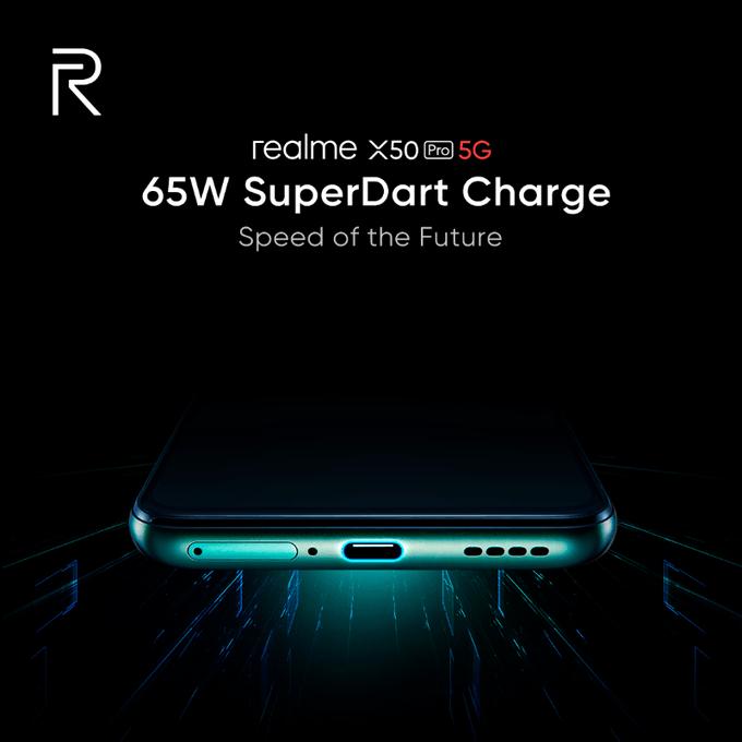 Realme подтвердила зарядку SuperDart мощностью 65 Вт на Realme X50 Pro 5G (realme super dart)