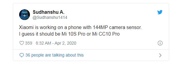 Xiaomi работает над 144-мегапиксельной камерой для смартфонов