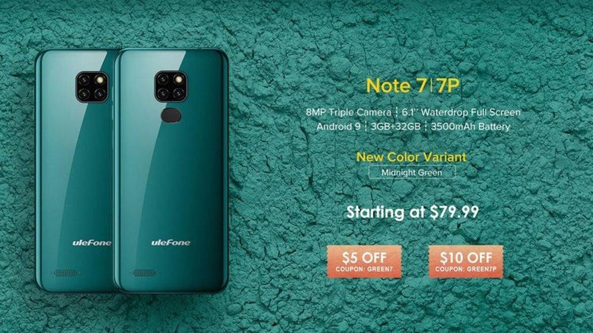 Ulefone выпустит новый цвет Midnight Green к моделям серии Note 7 (note 71920)