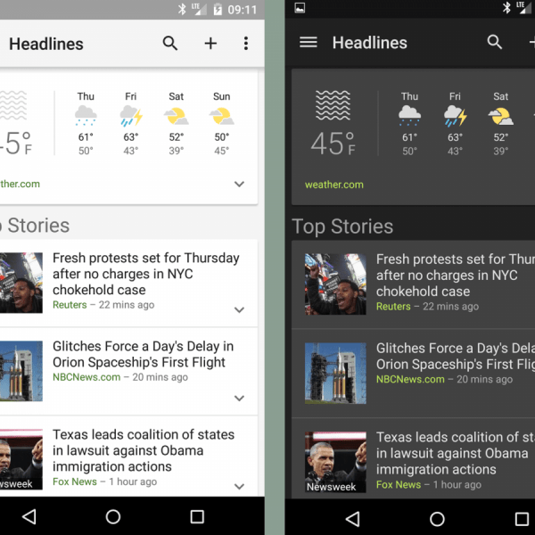 Google представила тёмную тему для Google App и Assistant (google news and weather dark theme pic1)