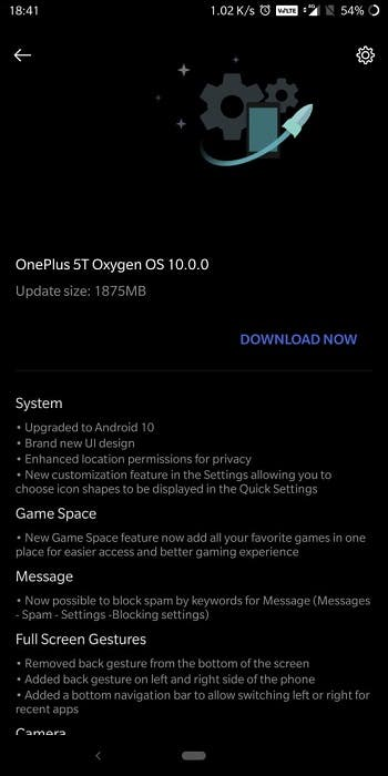 OnePlus 5 и OnePlus 5T получили обновление Android 10 (oneplus 5t oxygen os 10.0)