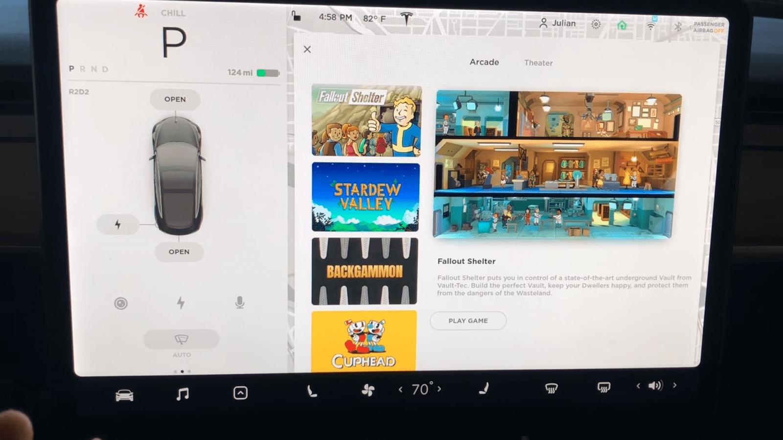 Игра Fallout Shelter появилась в автомобилях Tesla (screenshot from 2020 05 23 13 19 01)